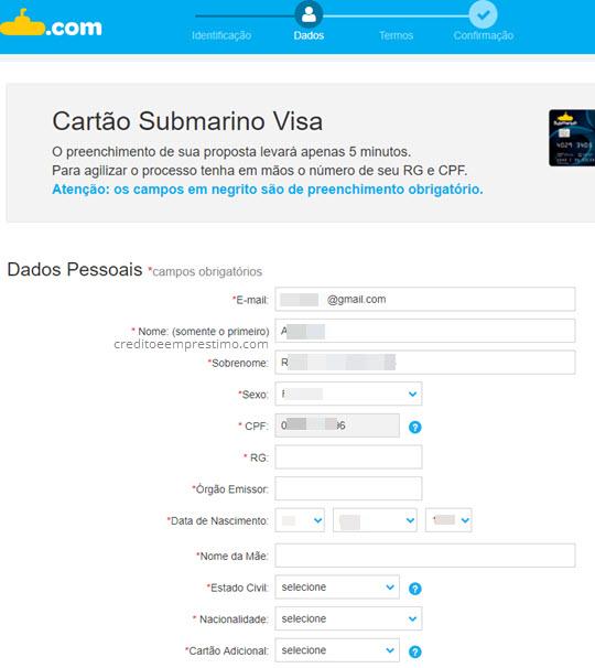 Cartão de Crédito do Submarino como fazer