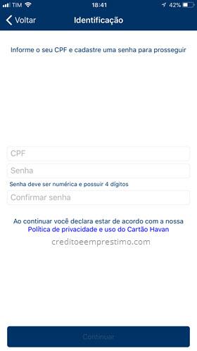 CPF e senha cartão Havan aplicativo Android iOS
