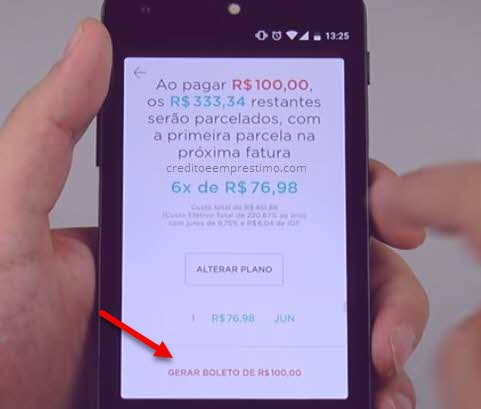 Como parcelar fatura do Nubank