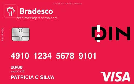 Cartão Mesada Bradesco pré-pago DIN