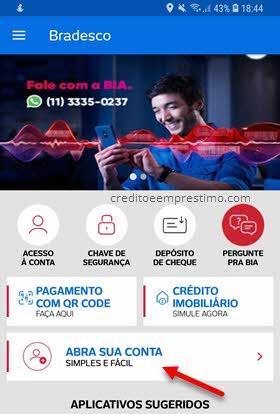 Abra sua conta aplicativo Bradesco celular