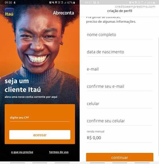 Como abrir conta no Itaú pela internet