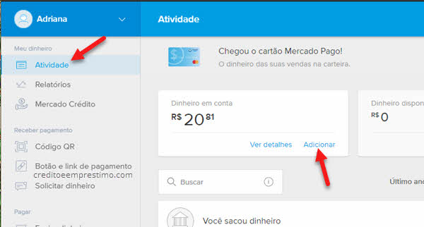 Adicionar dinheiro no cartão pré-pago Mercado Pago