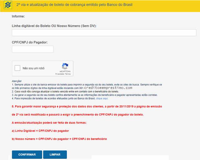 Como atualizar boletos após vencimento no Banco do Brasil