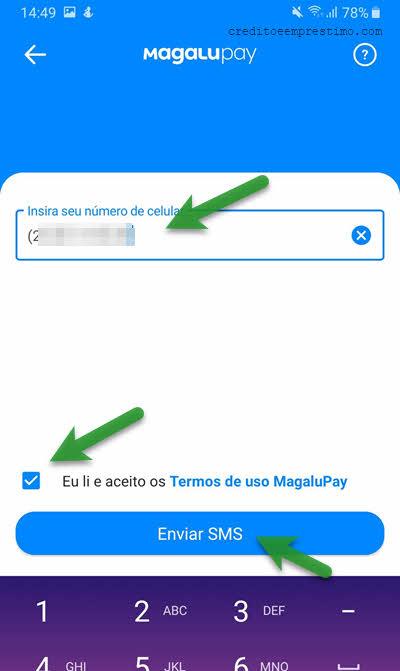 confirmar celular no app Magalupay conta digital