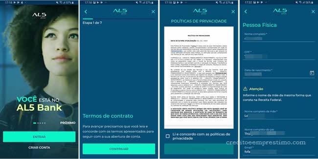 Como abrir conta digital AL5 Bank